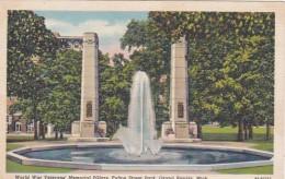 Michigan Grand Rapids World War Veterans Memorial Pillar Fulton Street Park Curteich - Grand Rapids