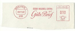 EMA AFS METER STAMP FREISTEMPEL - CUT GERMANY BREMEN 1962/3 ESSO HEIZOEL EXTRA GÜTE BRIEF - Chimica