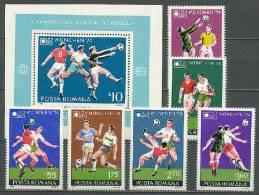 Romania 1974 Football Soccer World Cup Set Of 6 + S/s MNH - Coppa Del Mondo
