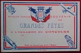 Cpa  SOUVENIR DES GRANDES FETES , REPUBLIQUE FRANCAISE , CONCOURS MUSIQUE, SPORTS  COURSES AUTO VELO AVION - Souvenir De...
