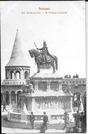 BUDAPEST SZT. ISTVAN-SZOBOR - ST. STEPHAN - DENKMAL CPA ANIMEE DOS DIVISE CIRCA 1910 TRES BON ETAT UNCIRCULATED - Hongarije