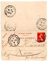 Carte Lettre De Embermenil Semeuse (27.12.1910) Pour Xousse Avricourt Nancy_Hausswirth - Kartenbriefe