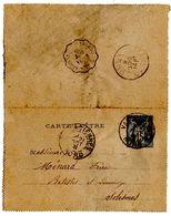 Carte Lettre Valenciennes Sage (21.10.1891) Pour Solesmes Ambulant Lusigny - Entiers Postaux