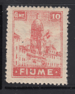 Fiume 1919 MH Scott #30a Italian Flag On Clock Tower In Fiume - Forgeries Exist - 8. Ocupación 1ra Guerra
