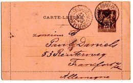 Carte Lettre Du Havre Gobelins Sage (24.10.1892) Pour Frankfort_Ambulant Le Havre à Paris - Entiers Postaux