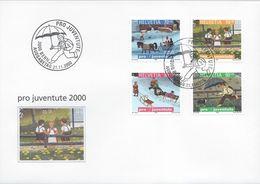 FDC POUR LA JEUNESSE PRO JUVENTUTE BERNE 21 Novembre 2000 Enfants Cheval Parapluie Pluie - Schweiz