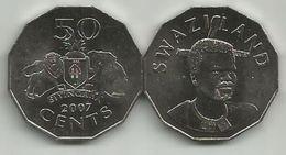 Swaziland 50 Cents 2007. UNC KM#52 - Swaziland