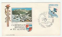 1970 7th Feb  WORLD ALPINE SKIING CHAMPIONSHIP EVENT COVER Selva Val Gardena ITALY Ski Sport Stamps Mountain - Skiing