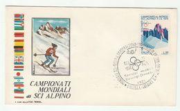 1970 11th Feb  WORLD ALPINE SKIING CHAMPIONSHIP EVENT COVER Selva Val Gardena ITALY Ski Sport Stamps Mountain - Skiing
