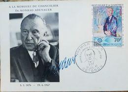 L) 1967 REPUBLIC OF DAHOMEY, KONRAD ADENAUER, POLITIC, CHANCELLOR, 70F, EUROPAFRIQUE, FDC - Europe (Other)