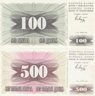 Bosnia & Herzegovina  #13 100 Dinara And #14 500 Dinara 1992 Banknotes - Bosnia And Herzegovina