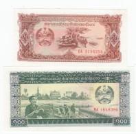 Laos #28 20 Kip And #30 100 Kip 1979 Banknotes With Military Theme - Laos