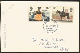 J)  1979 GREAT BRITAIN, HORSE, POLICE, AIRMAIL, CIRCULATED COVER, FROM GREAT BRITAIN TO MATANZAS, FDC - 1952-.... (Elizabeth II)