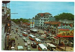 SINGAPORE-STREET SCENE / OLD CARS-AUTOBUS / WV KAFER / ESSO STATION / ADV.OVALTINE / THEMATIC STAMPS-COSTUMES/MASK - Singapore