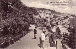 PORTO MAURIZIO-IMPERIA-UN SALUTO DAI GIARDINI DELLA STAZIONE-CARTOLINA ANIMATISSIMA-ANNO 1915-25 - Imperia