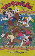 Télécarte DOREE NEUVE Japon / MF-1002304 - DISNEY SEA - Donald Mickey Minnie - Japan MINT GOLD Phonecard - Disney