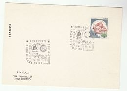 1986 ROMA V INTER Italian FOOTBALL LEAGUE MATCH EVENT COVER Card Soccer Stamps Sport Italy - Famous Clubs