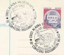 1987 Alagna Valsesia MEDICAL RADIO OPERATORS EVENT COVER Italy Stamp Medicine Health Broadcasting Postal Stationery Card - Medicine