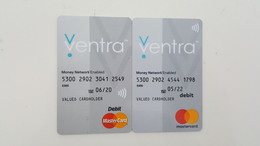 USA - 2 BANK CARDS - VENTRA - MASTERCARD OLD & NEW LOGO - FOR COLLECTION - Geldkarten (Ablauf Min. 10 Jahre)