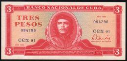 Caribe  / 3 PESOS 1984 REPLACEMENT Serie CEX-01 094796  UNC RARE - Cuba