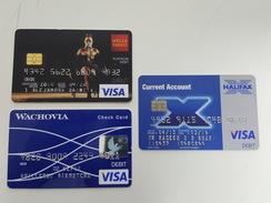 USA & UK - 3 CREDIT CARDS - VISA - WELLS FARGO, WACHOVIA & HALIFAX - FOR COLLECTION - Geldkarten (Ablauf Min. 10 Jahre)