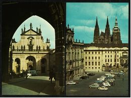 2 X Prag / Praha  -  Hradschiner Platz  -  St. Salvatorkirche Mit Klementinum  -  Ansichtskarten Ca.1970   (8182) - Czech Republic