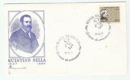 1977 ITALY FDC Quintino SELLA Stamps Cover - 6. 1946-.. Republic