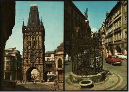 2 X Prag / Praha  -  Kleiner Ring Mit Renaissance-Brunnen  -  Pulverturm  -  Ansichtskarten Ca.1970   (8177) - Czech Republic