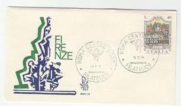 1974  ITALY FDC FOUNTAIN Fontana Del Oceano  Firenze Stamps Cover - 6. 1946-.. Republic