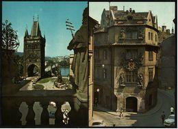 """2 X Prag / Praha  -  Kreuzherrenplatz  -  Karlsgasse Mit Haus """"Zum Goldenen Brunnen""""  -  Ansichtskarten Ca.1970   (8178) - Czech Republic"""