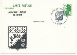 Entier Repiqué - 1,90 Liberté - Exposition Philatélique - Amicale Laïque - 35 BRUZ - 1987 - AK Mit Aufdruck (vor 1995)