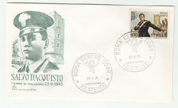 1975 ITALY FDC DEATH Of Salvo D'ACQUISTO WWII  Stamps Cover Carabinieri Police Army Forces - Police - Gendarmerie