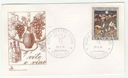 1974  ITALY FDC WINE & GRAPES International CONGRESS Stamps Cover Illus Wine Bottle, Fruit, Alcohol Drink - Fruits