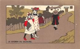 "CHROMO  FARINE LACTEE SALVY - PARIS  ""LE CHEMIN DU CALVAIRE"" ECOLE - Trade Cards"