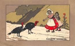 "CHROMO  FARINE LACTEE SALVY - PARIS  ""FACHEUSE RENCONTRE"" - Trade Cards"