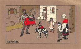 "CHROMO  FARINE LACTEE SALVY - PARIS  ""EN PARADE""  ORGUE DE BARBARIE - DRESSEUR DE SINGE - Trade Cards"