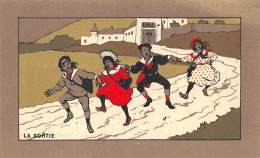 "CHROMO  FARINE LACTEE SALVY - PARIS  ""LA SORTIE"" ECOLE - Trade Cards"