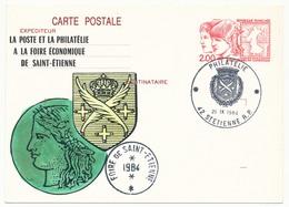 Entier Repiqué - 2,20 Philexjeunes - Foire économique De St ETIENNE - 1984 - 42 St ETIENNE R.P - Entiers Postaux