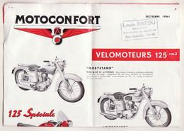 Pub ORIGINALE 1961 Type A3 Motoconfort MOTO ET SCOOTER Louis Barbu DINAN (TB Etat TROU DE PUNAISES DISCRET AUX ANGLES) - Máquinas