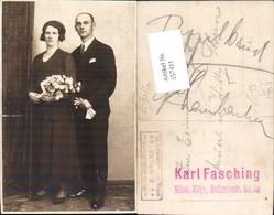 557411,Foto-AK Hochzeit Hochzeitspaar Liebe Frau Blumen Pub Karl Fasching Wien Florid - Hochzeiten