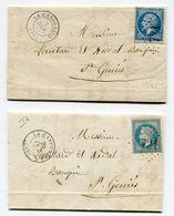 LOZERE De LA CANOURGUE 2 LAC De 1867 Et 1868 AVEC N)22 ET N)29 OBLIT2R2S Gc 721 - 1849-1876: Période Classique