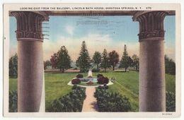 SARATOGA SPRINGS New York NY, Lincoln Bath House East Fm Balcony 1930s Vintage Postcard - Saratoga Springs