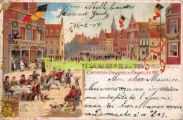 CPA LITHO  SOUVENIR DE L'EXPOSITION INTERNATIONALE BRUXELLES 1897 ( MAUVAIS ETAT - BAD CONDITION - SLECHTE STAAT ! ) - Expositions