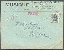 BELGIQUE - 5c. Lion Obl. Sc IXELLES Sur Lettre En-tête MUSIQUE Joseph PONSIN Auteur Editeur  + Contenu Editions Francis - Musique
