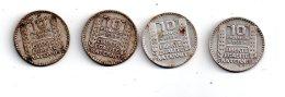 4 Pièces De 10 Francs Turin De 1932 (2ex) Et 1933 (2ex)- -voir état- - K. 10 Francs