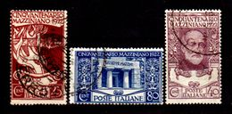 Italia-G-0020 - 1922: Sassone N. 128/130 (o) Used - Senza Difetti Occulti. - Afgestempeld