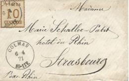 TP N° 5 Sur Enveloppe De Colmar Pour Strasbourg - Alsace-Lorraine