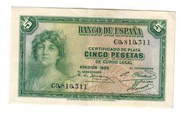 Spain 5 Pesetas 1935 XF+/AUNC - [ 2] 1931-1936 : Republic