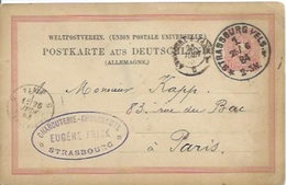 Entier Postal 10 Pf Sur Carte Postale De Strasbourg Pour Paris - Alsace-Lorraine