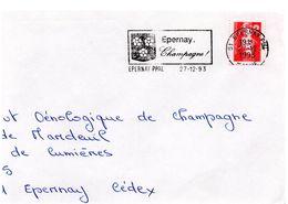 MARNE - Dépt N° 51 = EPERNAY Ppal 1993 = FLAMME Thème VIN = SECAP  Illustrée D' Une ARMOIRIE ' CHAMPAGNE ' - Postmark Collection (Covers)